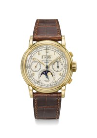 Patek Philippe. An exceptional 18K gold perpetual calendar chronograph wristwatch with moon phases